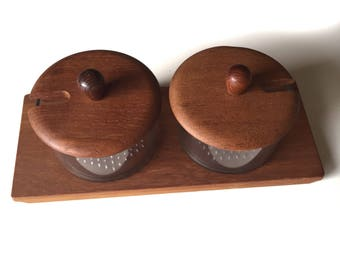 Luthje Condiment Tray | Danish Teak Serving Tray | Serving Tray Made in Denmark | Luthje Condiment Set