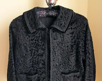 1960s Broadtail/American Processed Black Lamb Bolero Jacket, Vintage Bolero Jacket, Small, Please Check Measurements