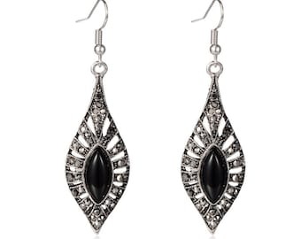 Silver/Black Dangle Earrings