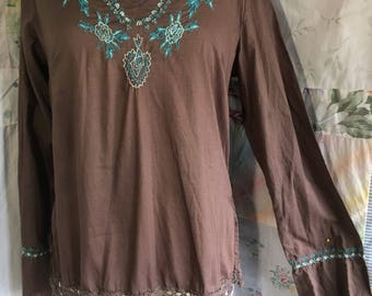 SMALL/MED, Top Bohemian Hippie Boho Flowerchild Cotton Brown Embroidered Blouse