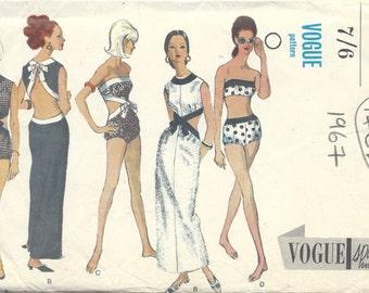 1967 Vintage VOGUE Sewing Pattern B32 DRESS PLAYSUIT Bathing Suits (1462R)  Vogue 6751