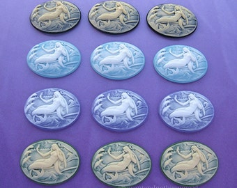 12 Unset 4 Colors (3 of Each) Mermaid Mermaids Siren Sea Nymph Mythological Horizontal 40mm x 30mm CAMEOS to make Costume Jewelry or Crafts