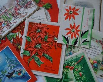 Vintage Retro Used Assorted Holiday Christmas Greeting Cards Stationary Ephemera Lot of 10
