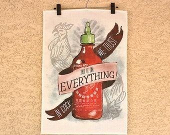 An Ode To Sriracha - linen & cotton decorative printed tea towel for your kitchen