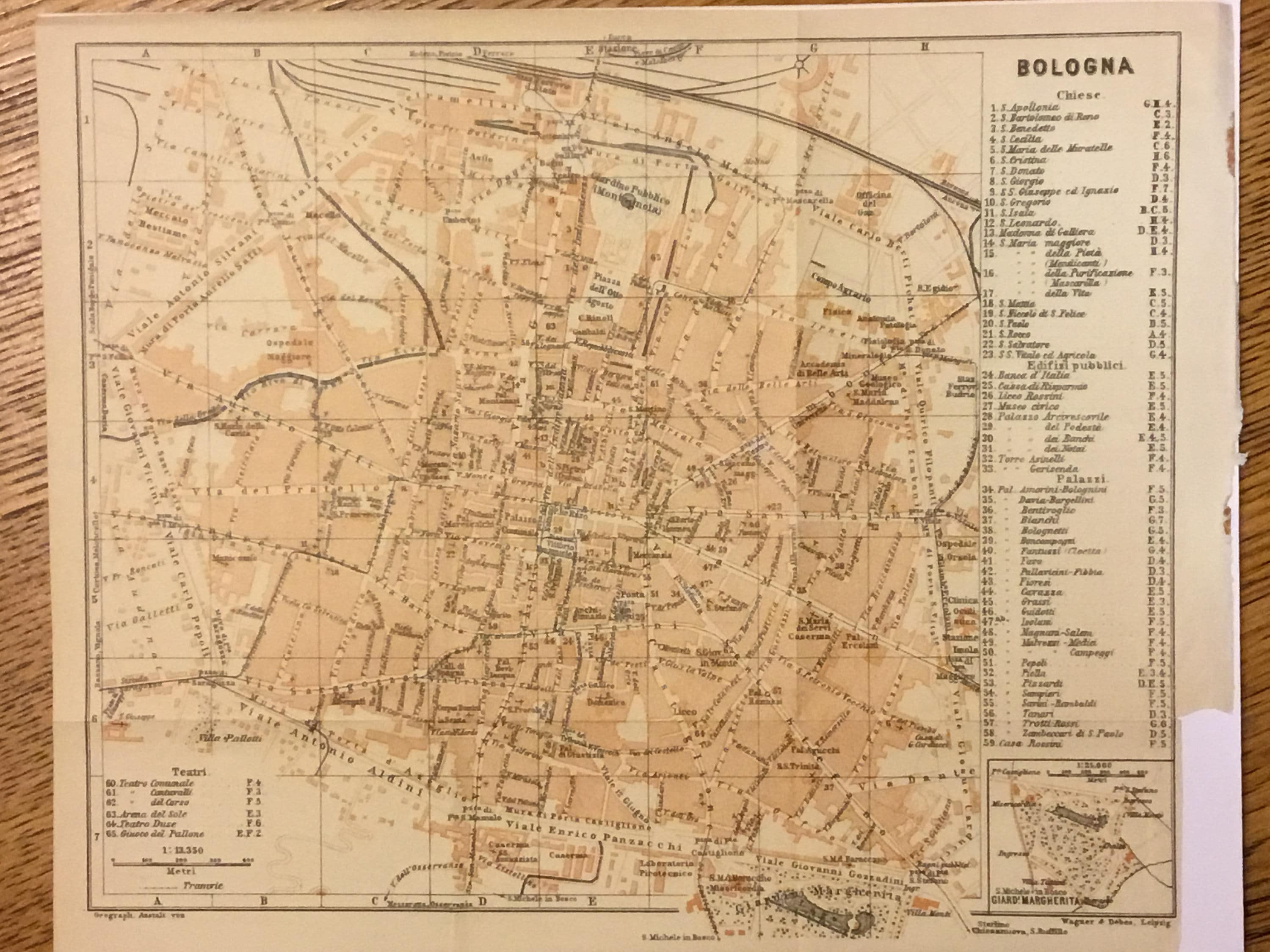 1928 Vintage Map of Bologna Italy Excellent Condition