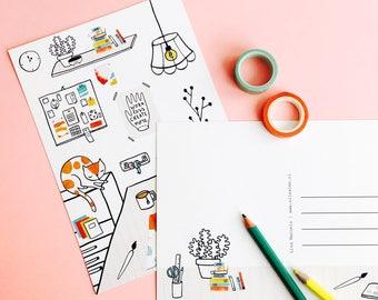 Postcard Creative Studio - greeting card A5 | cute postcard, mini print, cute stationery, illustration, sleeping cat, craft room wall art