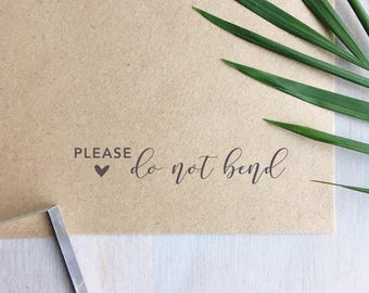 Please Do Not Bend Stamp (Long) | Fragile Stamp - Packaging Stamp - Wedding Stationery - Small Business