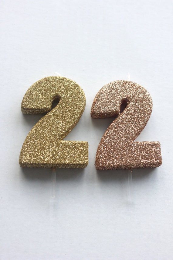 Sale 2 Glitter Rose Gold Candle Number Birthday Cake Candles