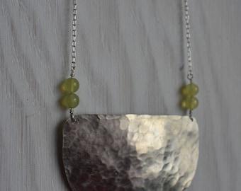 Medium Hammered Nickel Half Moon statement necklace with Moss Agate