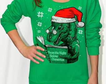 Womens Dinosaur Christmas Sweater sweatshirt shirt -- t rex reading Night Before Christmas off shoulder slouchy -- women's size s m l xl xxl