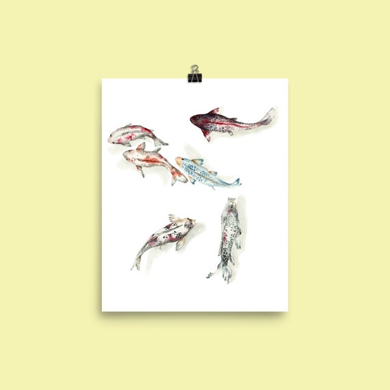 Koi Fish Swimming Art Print Watercolor Chinese Art Wall