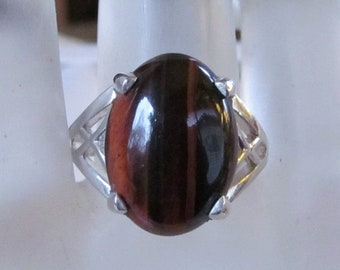 18x13mm Red Tiger's Eye Cabochon in Sterling Silver Openwork Ring, Size 10