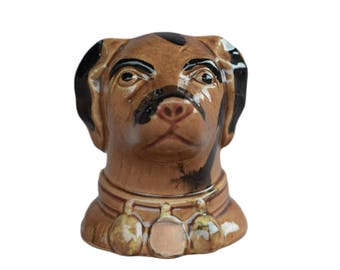 French Antique Dog Money Box Bank -  Brown & Black Dog Still Bank Penny Bank - Children Coin Bank