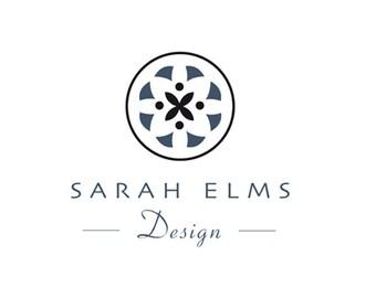 Simple logo, flower logo, elegant logo, pre-made logo, black logo.