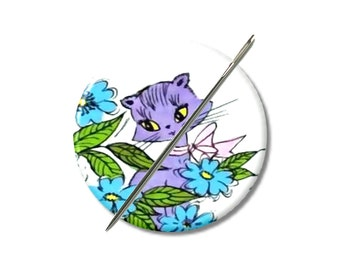 Purple Kitty kitschy needle minder magnet cross stitching sewing tool sewing notion wife gift under 10 stocking stuffer cat lovers