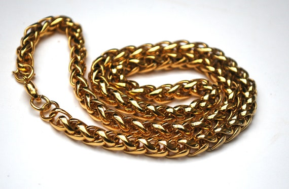 Monet Necklace - gold chain  links - gift for her choker - 18 inch interlink chain necklace