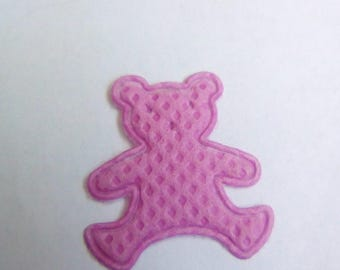 Applique fabric Teddy bear purple 19x17mm