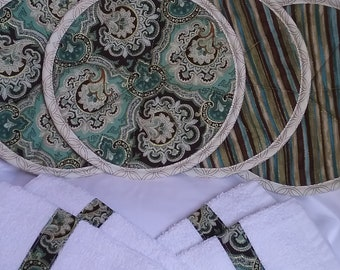 Hot pads/Pot holders with coordinate fabric trimmed kitchen terry towels