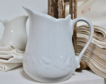 French Large Porcelain White Pitcher -  French Farmhouse Kitchen