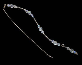 White Opal AB Crystal Beaded Fan Pull Silver Chain