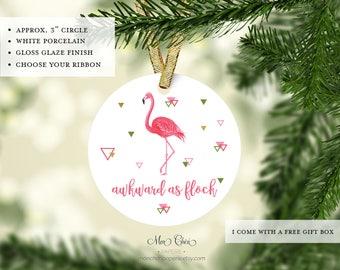 Flamingo Christmas Ornament   Flamingo Ornament   Awkward as flock   Christmas Gift   Florida Christmas Ornament