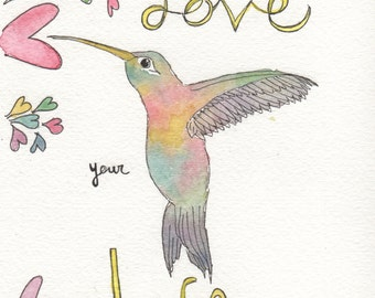 Quote wall art, watercolor hummingbird, hummingbird print, wall art, watercolor heart, love your life quote 8 x 10