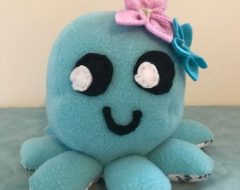 Blue/Pink Stuffed Octopus Plush with Floral Accessories