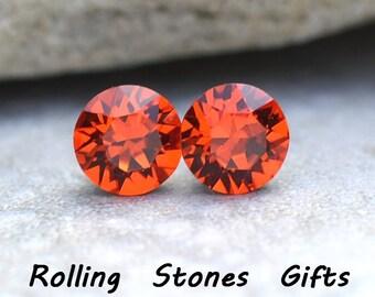 7.27mm Hyacinth Swarovski Studs Xirius Round Rhinestone Stud Earrings-Swarovski Hyacinth Stud Earrings-Orange Crystal Earrings