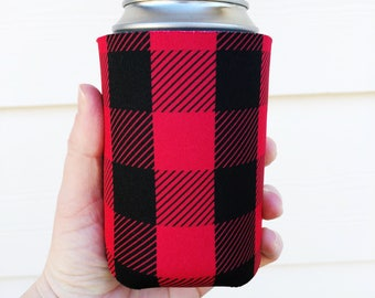 Christmas Can Cooler - Red & Black Can Cooler - Buffalo Plaid Can Cooler