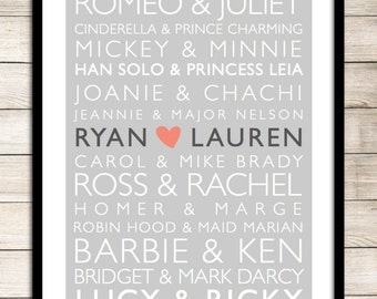 Famous Couples Print **DIGITAL** Famous Couples - Wedding Gift - Wedding -  Anniversary - Love - Valentines Day