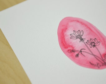 Flowers in a shell - original watercolor and ink illustration