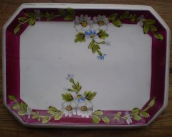 Pretty vintage ceramic sandwich or cake plate