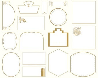 Novelty Quilt Labels - Beige and White -  Fabric Labels Cotton - [[by the half yard]]