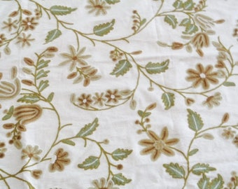 Vintage Remnant of Embroidered Crewel Drapery or Upholstery Fabric