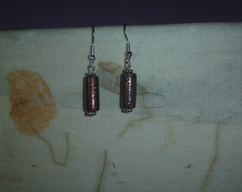 metallic cylindrical earrings, ecofriendly dangle earrings