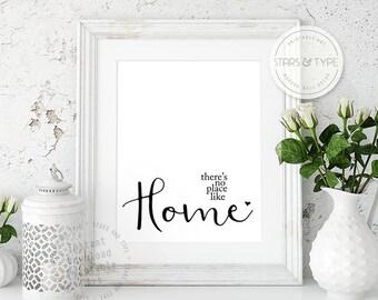 Theres No Place Like Home, PRINTABLE Wall Art, House Quote, Modern Black Typography, Modern Home Decor, Housewarming Gift, Digital Print Jpg