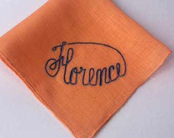 Vintage Orange Hanky with Florence Embroidered in One Corner - Hankie Handkerchief