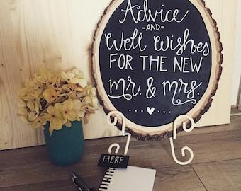 Wood slice chalkboard sign, customized, home decor, gift idea, wood chalkboard, wedding decor