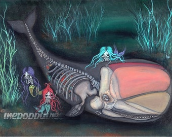 Whale Print Skeleton Mermaid Sugar skull Girl Print Cute Dead Dying Ocean Sad Sea Wall Art