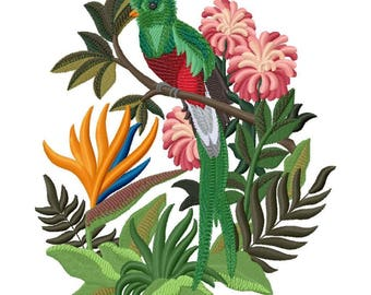 Quetzal and Bird of Paradise Embroidered on Made-to-Order Pillow Cover