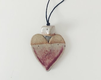 Handmade ceramic white heart pendent necklace, organic clay beads, white speckled ceramic beads, long necklace Valentine's Day gift