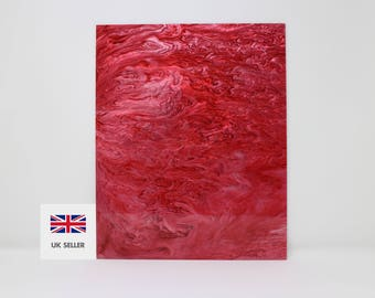 3mm Red and white marble acrylic perspex with glitter 600x370mm