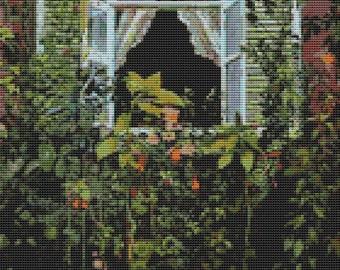 Garden Cross Stitch Kit, Window, Counted Cross Stitch, Embroidery Kit, Art Cross Stitch, Victor Borisov-Musatov