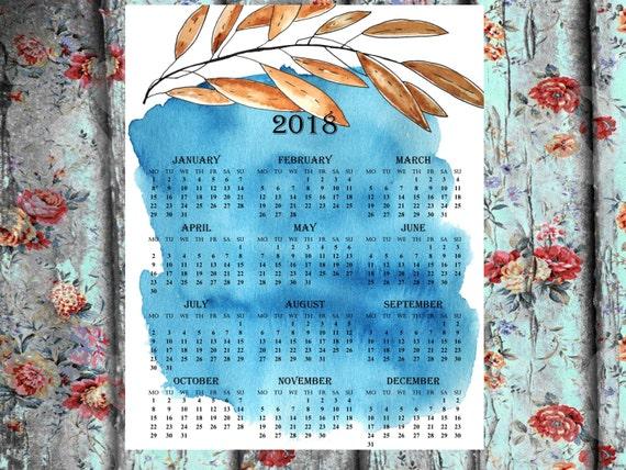 2018 one page printable calendar