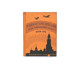 Vintage Spelling Book - Vintage School Book - Art Deco Decor -Children's Book -Classroom Decor- Kid's Room Decor- Decorative Book- Airplanes