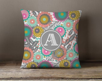 Throw Pillow, Pillow Cover,  Dorm Pillow Personalized Pillow, Monogram: Mod Flowers One