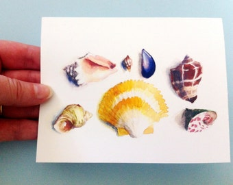 Watercolor Card - Seashells