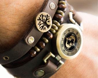 Tree of Life Bracelet, Pisces Bracelet, Leather Bracelet