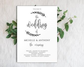 Editable Program Template, Printable Wedding Program, Wedding Program Printable, Program Template, Editable Program, Ceremony Program, 0015