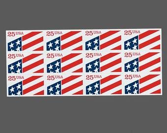 Set of 12 1990 25c Plastic United State Flag US Postage Stamps Self Adhesive